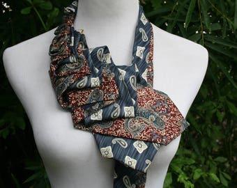 RecycledNeckties ~ Necktie Necklace - BLUE Patterned Silk Tie / Burgundy Dark RED Print Silk Tie - Unique Necklace - Women's Necktie ~ Scarf