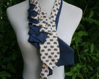 RecycledNeckties ~ Necktie Necklace ~ Navy BLUE & PINK Silk Tie / Navy BLUE Silk Tie ~ Necktie Scarf ~ Silk Scarf ~ Women's Accessories