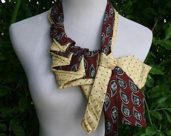 RecycledNeckties ~ Necktie Necklace ~ Vintage Burgundy Dark RED Silk Tie /  YELLOW & BLUE Silk Tie - Silk Necklace - Women's Necktie - Scarf