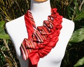 RecycledNeckties ~ Necktie Necklace - RED Multi-Colored Striped Silk Tie /  RED Striped Silk Tie - Silk Necklace - Women's Necktie