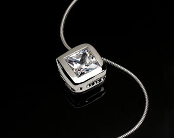 """Adjustable 20"""" Solid Sterling Silver Necklace with Princess Cut Stone CZ Pendant"""