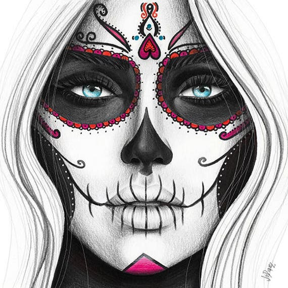 Day Of The Dead Art Print From Original Pencil Illustration Etsy