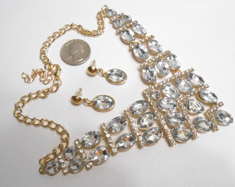 Clear Rhinestone Goldtone Bridal or Prom Choker Necklace and Earrings Set