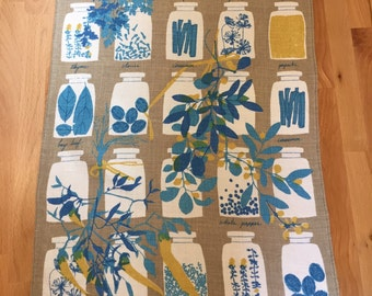 Vintage Vera Neumann Linen Tea Towel   Dish Towel Kitchen Herbs and Spice Jars   1960s 1970s Yellow Blue Brown Tan