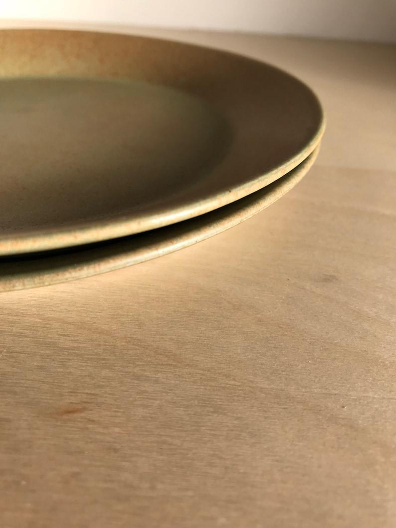 Bread and Butter Ochre Yellow Green Pair Bennington Potters Dessert Plates Yusuke Aida David Gil 1661 Spark