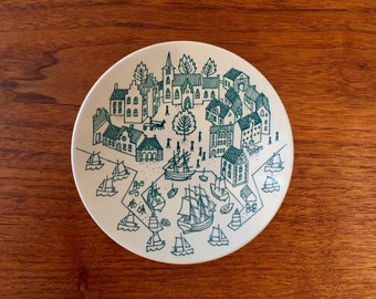 Mid Century Nymolle Art Faience Hoyrup Small Dish or Plate Danish | Made in Denmark Limited Edition 4006 | Pin Dish Valet
