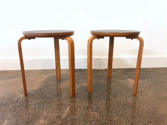 Fine Fabulous Vintage Scandinavian Modern Stacking Stools Birch Black Linoleum End Table Stool 60 Alvar Aalto Attributed Made In Sweden Creativecarmelina Interior Chair Design Creativecarmelinacom
