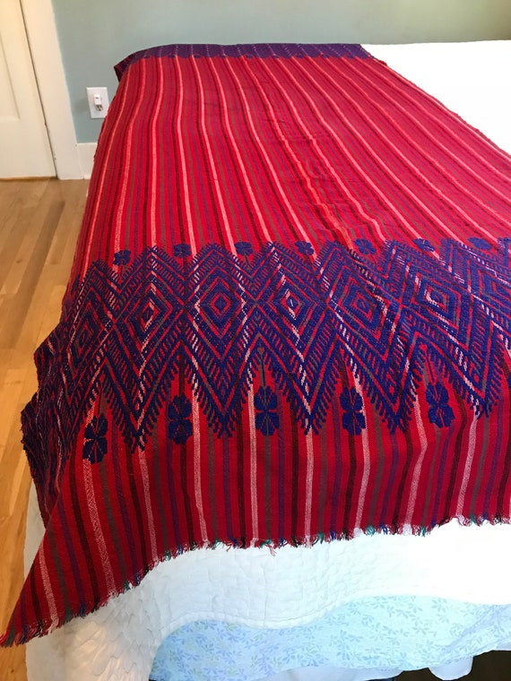 Fabulous Mexican Striped Embroidered Shawl Rebozo