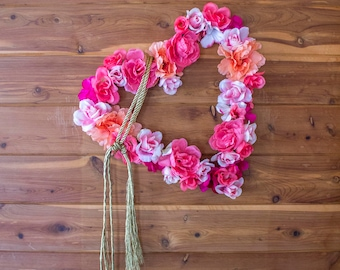 Discounted - Floral Wreath - Pink Heart Decor - Boho Bedroom Decorations - 12-Inch - Valentine's Day - Seasonal Wreath - Gold Rope -Bohemian