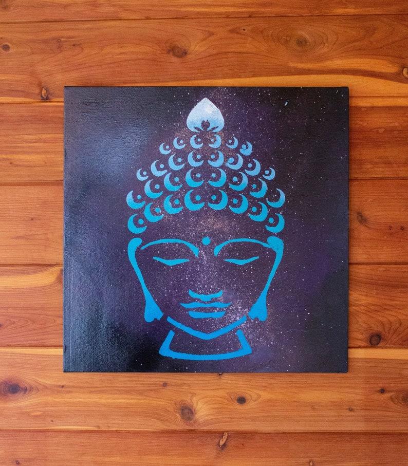 Tête De Bouddha Peinture Galaxy Spirituelle Art Art De Etsy
