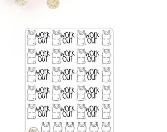 Work Out Exercise Healthy Tshirt Gym Workout Planner Stickers