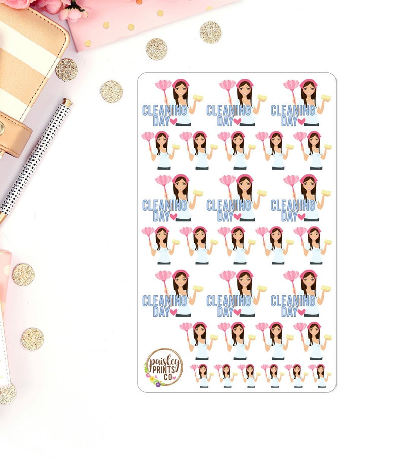 Cleaning Day Planner Stickers Cleaning Stickers for use in image 1