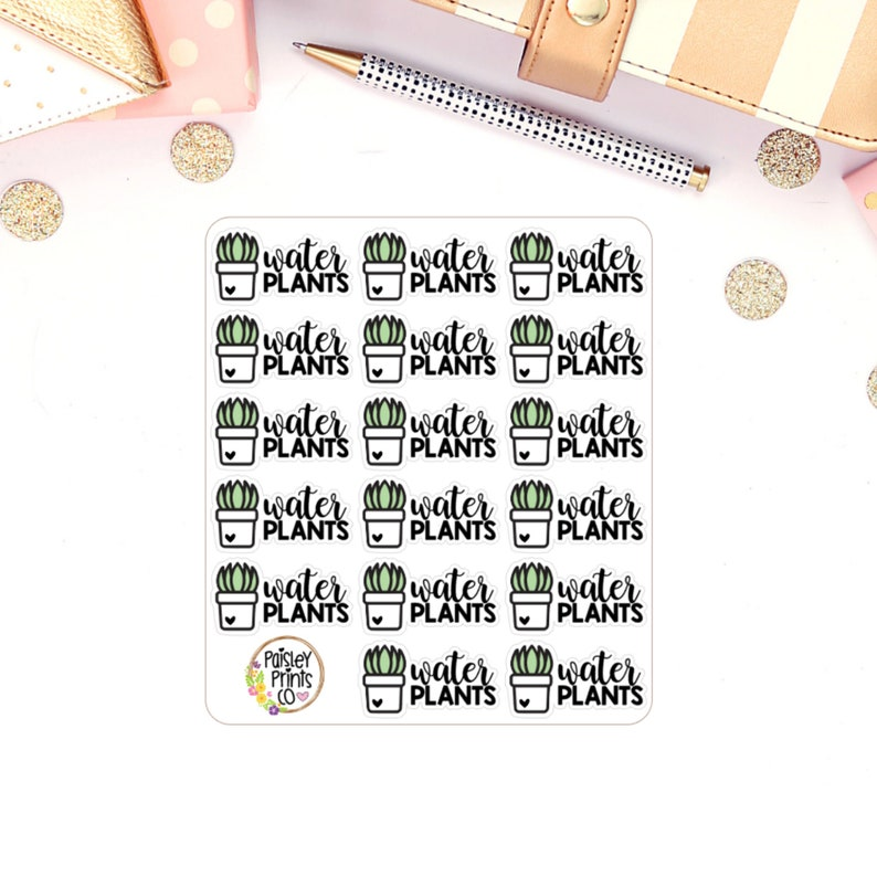 Water Plants Reminder Planner Stickers image 0
