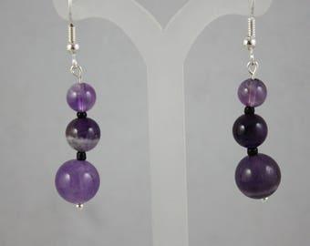earrings, amethyst earrings, purple earrings, gemstone earrings, dangle earrings, drop earrings,