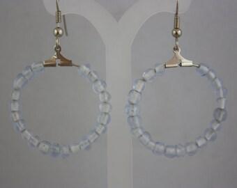 earrings, blue earrings, hand made jewelry, handmade jewelry, hoop earrings, beaded earrings, pale blue earrings,