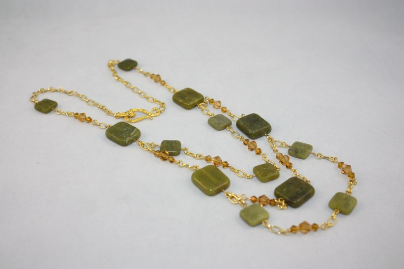 Green Serpentine bead necklace; serpentine crystal and gold chain necklace; multistrand necklace; 3 tier serpentine necklace; green necklac