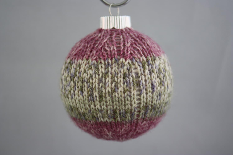 Christmas ornament hand knit covered glass ball Christmas | Etsy
