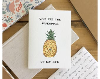 Pineapple card // pineapple, fruit card, love card, funny love card, funny card, Valentine's Day card, card for her, card for girlfriend