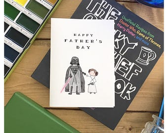 Starwars Father's Day Card Leia // star wars card, darth vader, princess leia, funny card, father's day card, for dad, greeting card, punny