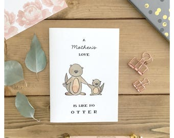 Mother Otter Card // mothers day card, otter card, otter, funny card for mom, mothers day pun, pun card, punny, otter card, otter pun