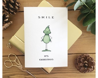 Grinch Christmas Card // the grinch who stole christmas, funny card, christmas card, holiday card, grinch, greeting card, theme card, punny
