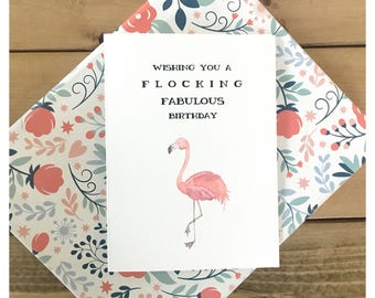 Flocking Birthday // flamingo birthday card, flamingo card, flamingo, birthday card, funny birthday card, flocking fabulous, funny card, pun