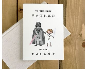 Best Father in the Galaxy Luke // Darth Vader, Father's Day card, Star Wars card, card for dad, punny, Star Wars, greeting card