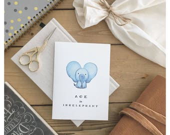 IRRELEPHANT CARD // funny birthday card, birthday card, cute birthday card, greeting card, cute elephant, elephant, elephant card, birthday
