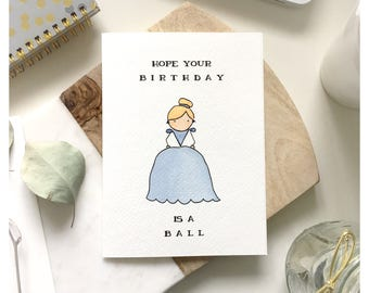 Cinderella Card Birthday Princess Disney Punny Pun