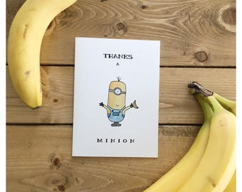 MINION CARD // Despicable Me Card, Thank You Card, funny thank you card, funny minion card, thanks a million, minion, pun card, pun, minions