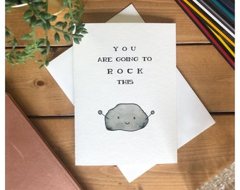 You Are Going To Rock This // encouragement card, greeting card, inspiration card, well done, good job, new job, punny, pun, rock, funny