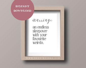 Marriage Definition Wall Print // funny decor, wedding gift, anniversary gift, for wife, for husband, bedroom decor, wall art, print