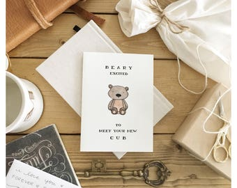 New Cub Baby Card // baby shower card, card for baby, funny baby card, baby pun, punny, new baby card, congrats card, baby greeting card