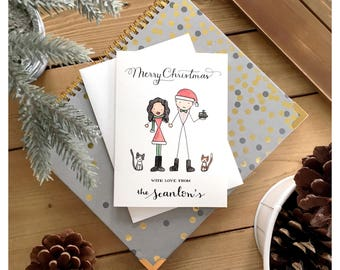 F A M I L Y   H O L I D A Y   C A R D // custom holiday card, family card, family portrait, family greeting, family caricature, from us