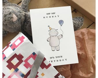 Hippo Card // birthday card, birthday greeting card, funny birthday card, birthday pun, hippopotamus, funny greeting card, happy birthday