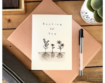 Rooting For You // plants, congratulations, punny, punny card, pun card, plant pun, funny card, roots, good luck card, greeting card, pun