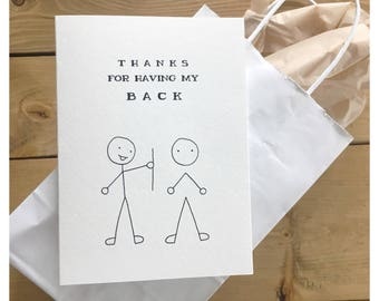 Thanks for having my back // nerd card, science card, funny thank you card, anatomy card, doctor card, card for doctor, med student card