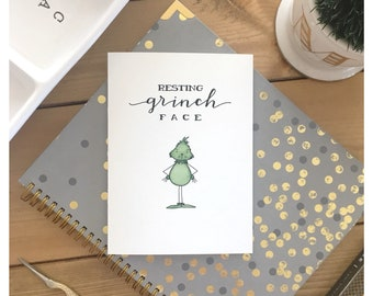 Resting GRINCH Face // funny card, greeting card, grinch, christmas card, birthday card, gift, grumpy, dr seuss, punny, pun, pop culture