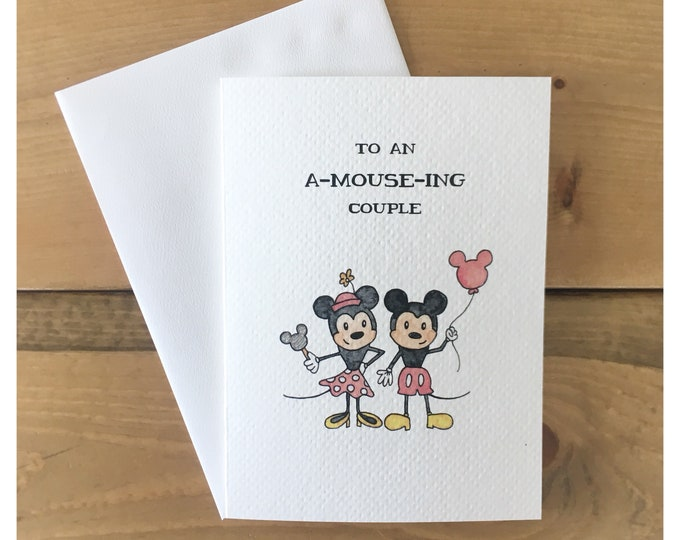 Featured listing image: Mini and Mickey Anniversary Card // love card, anniversary card, couple card, disney, disney card, mickey mouse, minnie mouse, wedding card