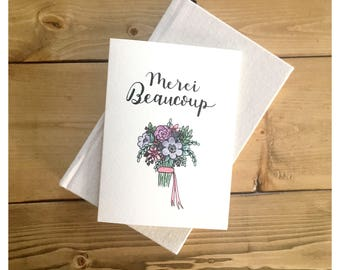 MERCI BEAUCOUP // thank you card, thank you, merci card, flower card, greeting card, floral greeting card, bridesmaid card, flowers, thanks