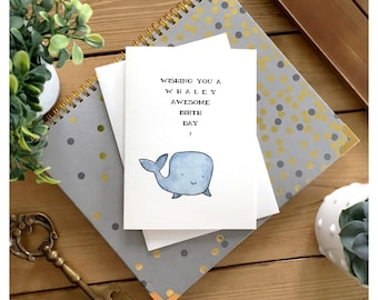 Whale Birthday Card // cute card, whale card, pun card, cute birthday card, funny birthday card, birthday card, greeting card, whale, punny