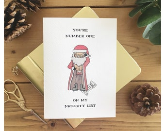 Naughty List // christmas card, adult card, santa, naughty or nice, greeting card, funy card, holiday card, funny christmas card, adult joke