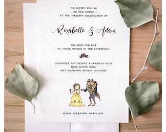 SAMPLE* Enchanted Wedding Invitation set // beauty and the beast, wedding card, wedding rsvp, save the date, disney wedding, disney card
