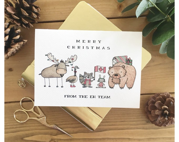 Featured listing image: Eh Team Christmas Card // canada card, canadian, greeting card, made in canada, canadian animals, eh, punny, pun, funny card, watercolour