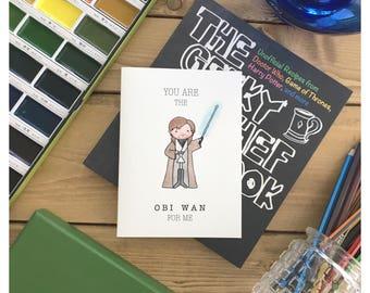 Obi Wan // Star Wars Card, Valentine's day card, funny love card, Obi Wan Card, Obi Wan, Star Wars Greeting Card, Fandom, pun card, Punny