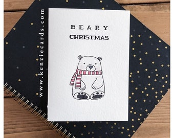 Beary Christmas // christmas card, merry christmas, dreaming of a white christmas, flat white, coffee, punny, funny card, pun card, bear