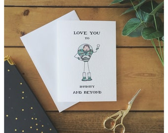 Buzz Lighyear Card // love card, to infinite and beyond, toy story, i love you, anniversary card, disney card, valentine's day card, for her