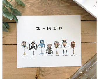 X-Men 8x10 Print // super hero, beast, rogue, wolverine, jean grey, storm, professor x, cyclops, marvel, watercolour, illustration, comic