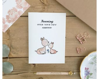 Fawn Card // baby card, baby shower card, woodland animal, baby deer card, baby gift, punny, pun, woodland animal art, deer, fawn, card pun