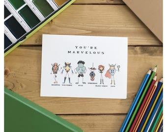 MARVEL CARD // marvel comic, marvel, hulk, deadpool, spiderman, black widow, super hero card, thor, funny birthday card,  the avengers, pun
